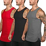 COOFANDY Men's 3 Pack Quick Dry Workout Tank Top Gym Muscle Tee Fitness Bodybuilding Sleeveless T Shirts