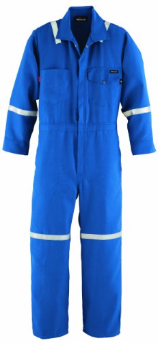 Workrite FR Flame Resistant 4.5 oz Nomex IIIA Industrial Coverall with Reflective Tape, Snap Wrist, 46 Chest Size, Short Length, Royal Blue by Workrite