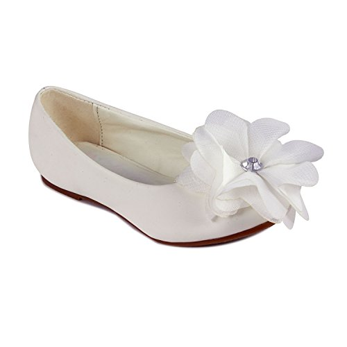 Cinderella Flats with Flower for Little Kids (White, Little Kid 13) (Cinderella Shoes Kids)