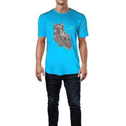 SINUS ART ® Eule im orientalischen Stil Herren T-Shirts in Karibik blau Cooles Fun Shirt mit tollen Aufdruck