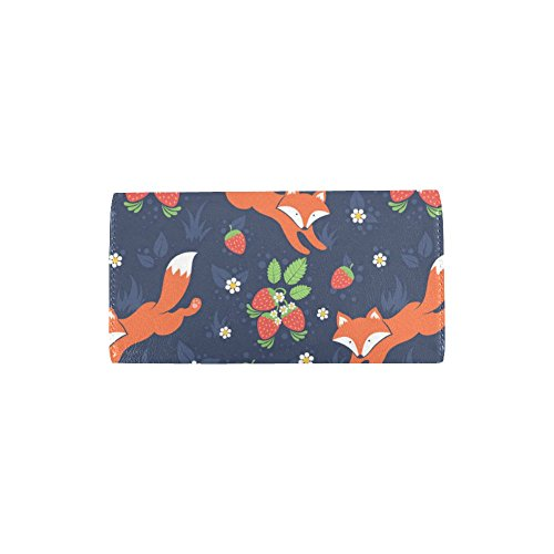 Splashes Silly Long Custom Wallet Clutch Strawberries and Cute Waves Wallets Meow Great Women's Trifold Of Women's Wild Water Foam Forest Gift Foxes Sea fwXrw4xq