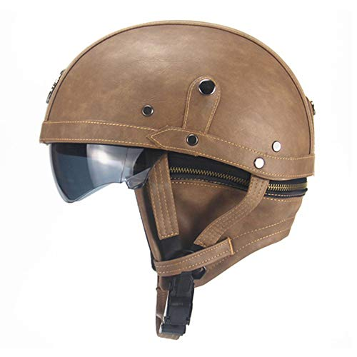Leather Motorcycle Helmet Vintage Half Helmet Cruiser Scooter Touring Moto Helmet DOT Sun Shield Lens