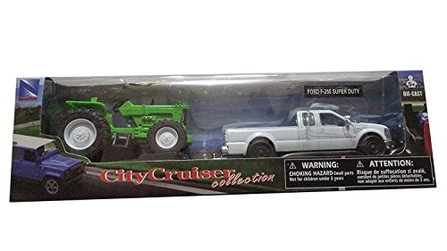 NewRay Trucks, 1:43 Scale Die Cast, Ford F-250 Super Duty, Truck with tractor