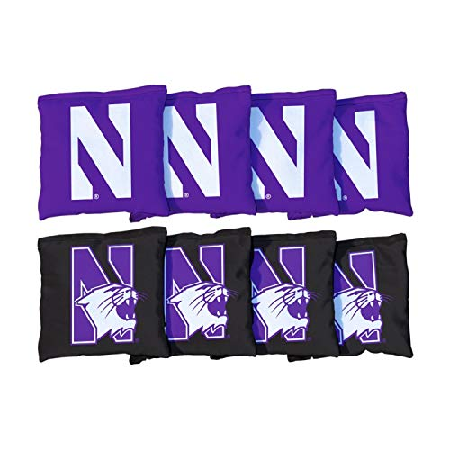Victory Tailgate NCAA Collegiate Regulation Cornhole Game Bag Set (8 Bags Included, Corn-Filled) - Northwestern Wildcats