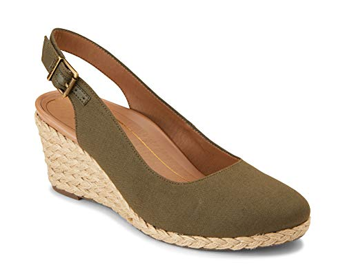 Vionic Women's Aruba Coralina Slingback Wedge - Espadrille Wedges with Concealed Orthotic Arch Support Olive 8 W US