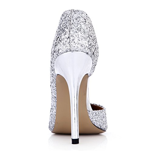 Pumps Stiletto Pointy Dress Glitter Heels SM00104 Shoes Fashion Toe Silver 12CM High DolphinGirl Glitter Silver Women IHvxw4BqP
