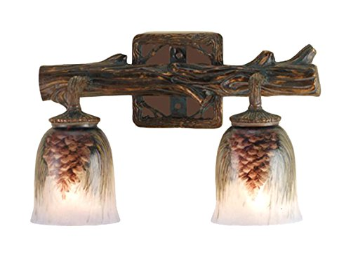 Meyda Tiffany 49521 Northwoods Pinecone 2 Light Hand Painted Wall Sconce, 16