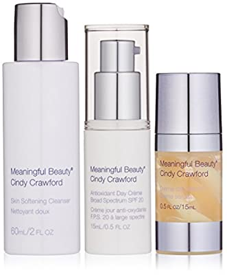 Meaningful Beauty by Cindy Crawford – 3 Piece Daily Routine Starter System – Skin Softening Cleanser – Antioxidant Day Crème – Crème de Sérum – MT.2065