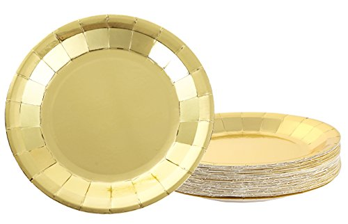 Disposable Plates - 48-Pack Paper Plates Party Supplies for Appetizer, Lunch, Dinner, and Dessert, Kids Birthday Party Favors, Gold Foil, 9 x 9 Inches (Paper Party Plates Lunch Shower)