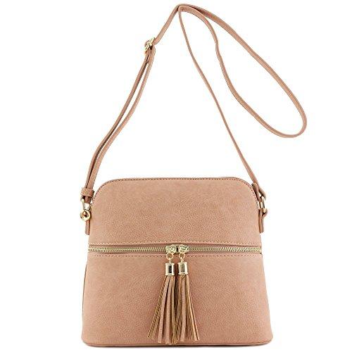 Accent Rose Crossbody Tassel Medium Bag Pink Dome Hxd8xq