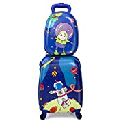"""Sandinrayli 2 Pcs Kid Luggage Set, 12"""" Backpack & 16"""" Kid Carry on Suitcase with Spinner Wheels, Travel Rolling Luggage…"""