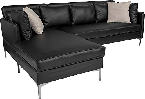 Garrison Upholstered Leather Accent Pillow Back Sectional with Left Side Facing Chaise