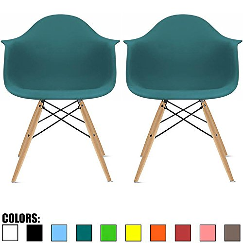 2xhome Set of 2 Teal Mid Century Modern Contemporary Vintage Molded Shell Designer with Arms Molded Plastic Eiffel Chairs Natural Wood Legs DAW Dining Accent Conference Room Desk Ergonomic No Wheels