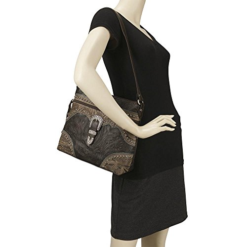 American West Women's Saddle Ridge Zip Top Shoulder Bag Chocolate One Size by American West (Image #4)
