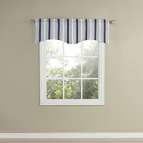 "Renaissance Home Fashion Walden Lined Scalloped Valance, 48"" X 17"", Admiral"