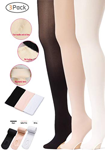 Ballet Tight 3 Pair Ultra Soft Girls/Women's 4 Way Stretch Transition Dance Tights [3-Ballet Pink+Black+White,XS]