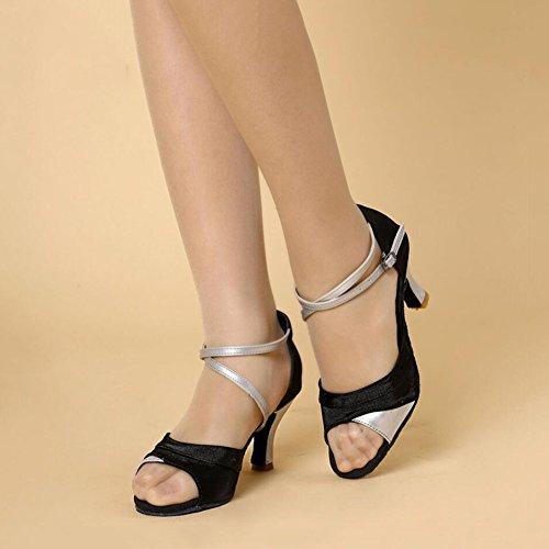Size Sparkling C Professional XUE Shoes Women's Rhinestone Glitter Sparkling Latin Ballroom Sandal Color Glitter Flared 39 Performance Shoes Heel Heel A twURWqFw