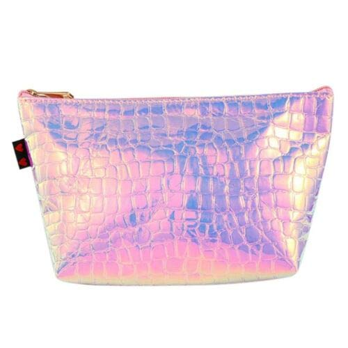 Laser Crocodile Grain Cosmetic Bag Travel Toiletry Pouch Makeup Storage (Color - Pink)