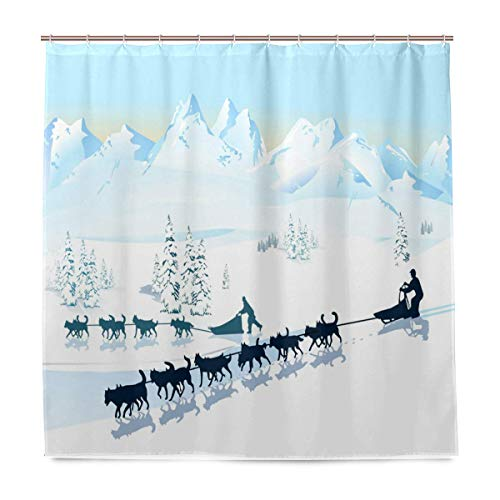 Husky Shower Curtain,North Pole Graphic Landscape Design with Snowy Mountains Dog Sleds,Cloth Fabric Bathroom Decor Set with Hooks,72 by 72 inches,Baby Blue White and Dark -