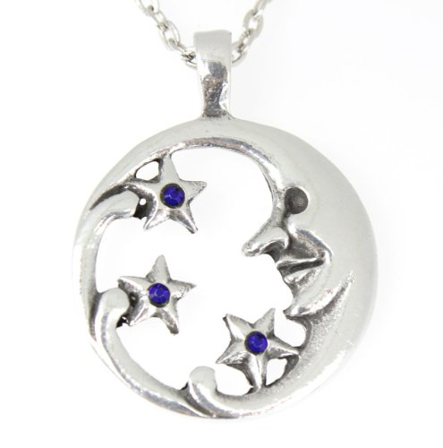 Trilogy Jewelry Pewter Moon Face with Stars Pendant on Chain with 3 Swarovski Crystals for Birthday (September-Blue) ()