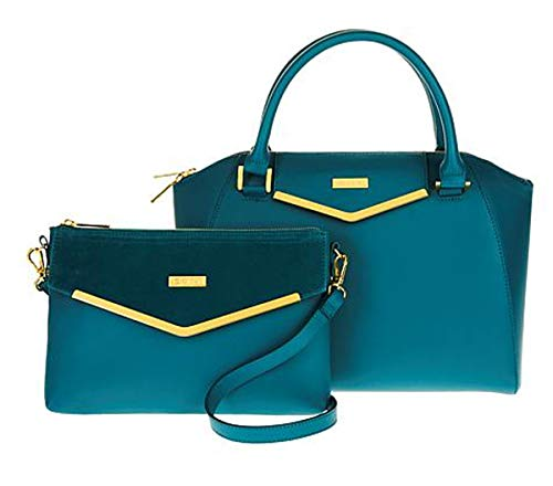 Couture Clutch - JOY & IMAN Couture Leather Satchel & Clutch with Velvet Detail ~ Jade