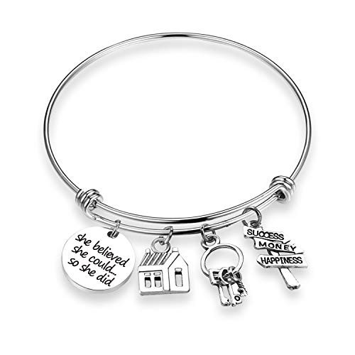 ZNTINA Real Estate Agent Bracelet Realtor Jewelry Gifts She Believed She Could New Home Gift (BR- Realtor 1) -