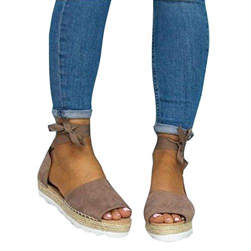 abierta Zapatos Stappy 43 Plataforma 35 playa Sandalias Gris de punta Bombas Junkai verano Mujer planos de de Zapatos PatZ116wq