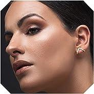 Triangle stud earrings, Gold stud earrings, geometric earrings, chevron earrings, suspender earrings, triangle