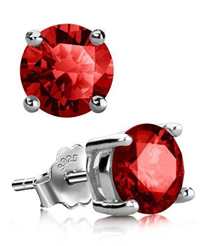 (UHIBROS Sterling Silver Birthstone Stud Earrings Round Cubic Zirconia Diamond January)