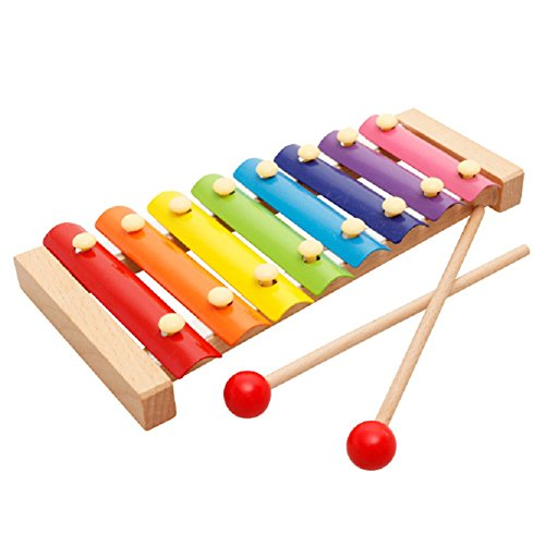 Wooden Xylophone for Kids,Musical Toy for Toddlers,First Musical Instrument for Children, Preschool Learning Educational Toys for Girls Boys,8 Key Notes Glockenspiel Xylophone With 2 Wooden - Mcallen Shopping