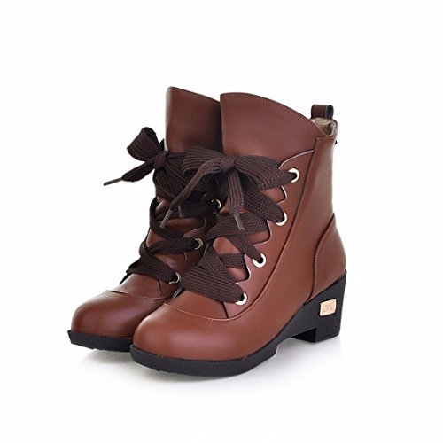 RFF-Women's Shoes Slope Heel Snow Boots, Round Headed Girl Student Winter Short Sleeve Soft Cotton Boots,Brown,35
