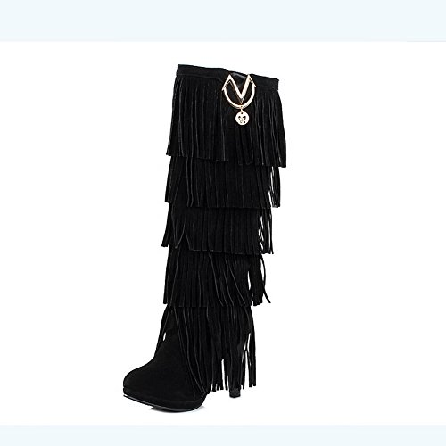 BalaMasa Womens High Heels Mid Calf Solid Black PU Fringed Boots - 8.5 B(M) - Sale Chemist Boots