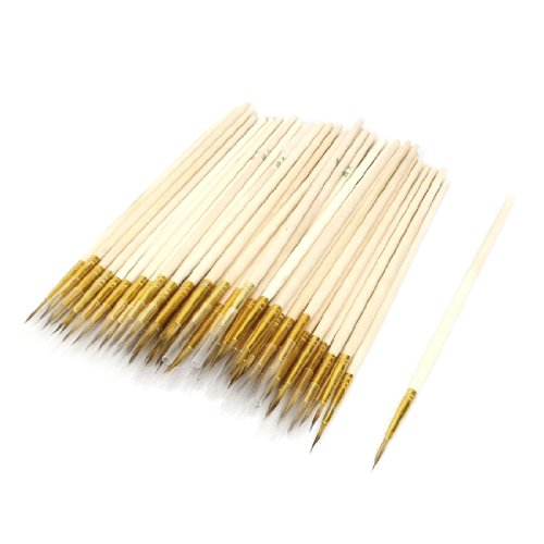 "uxcell 5.9"" Length Wooden Shaft Chinese Calligraphy Writing Brush 100 Pcs"