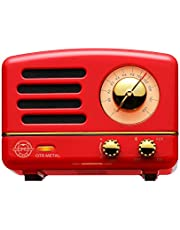 Muzen M-OTR Metal Red Portable Wireless FM Radio and Bluetooth Speaker, Crimson Red