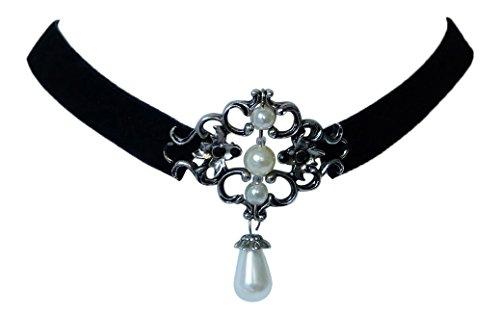 Edles Trachtenschmuck Ornament Samt Kropfband - Collier mit Perlen und Kristallen (Schwarz / Kristalle schwarz)