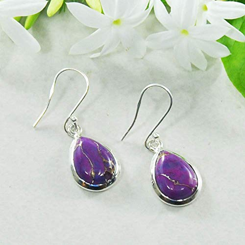 (Sivalya 3.00 Ctw Pear Cut Natural Purple Turquoise Earrings in 925 Sterling Silver, Genuine Teardrop Shape Gemstone Solid Silver French Hook Dangle Earrings)