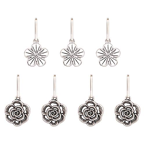 (Ascrafter Alloy Flower Zipper Pulls Charms for Jacket, Purses, Backpack, 7)