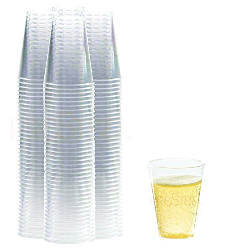 Clear Plastic Cups | 7 oz. 100 Pack | Hard Disposable Cups | Plastic Wine Cups | Plastic Cocktail Glasses | Plastic Drinking Cups | Small Plastic Party Punch Cups -