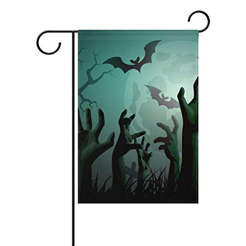 (TrunyArt Decorative Retro Vintage Happy Halloween Owls Ghost Garden Yard Flag Banner for Outside House Flower Pot Double Side Print Polyester 12x18)