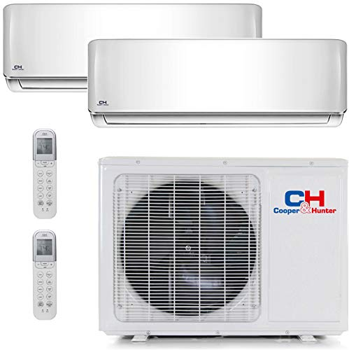 Cooper Dual Cover - COOPER AND HUNTER Dual 2 Zone Mini Split Ductless Air Conditioner Heat Pump 12000 18000
