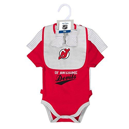 Little Devil Bib - Outerstuff NHL New Jersey Devils Layette Newborn Team Awesome 2Piece Onesie, Bib & Bootie Set, 0-3 Months, Cool Grey