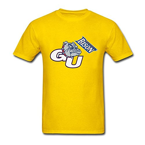 New Coming Men athletic logo Gonzaga Round Neck Short Sleeve T Shirt Yellow XXL Costume (Colossus Costume)