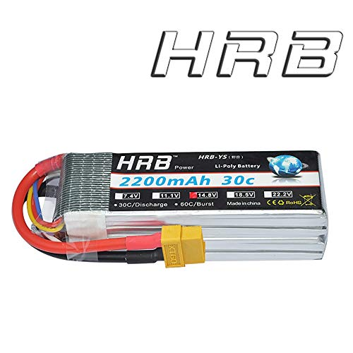 HRB 4S 14.8V 2200Mah 30C RC LiPo Battery Pack with XT60 Plug for RC Airplane Helicopter Quadcopter Vehicle (Lipo Race Pack)