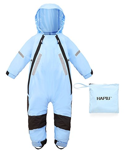 HAPIU Kids Toddler Rain Suit Muddy Buddy Waterproof Coverall,Blue,18M,Upgraded