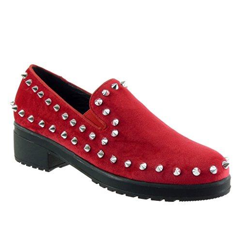Angkorly - Zapatillas de Moda Deportivos slip-on zapatillas de plataforma mujer tachonado elástico Talón Plataforma 4.5 CM Rojo