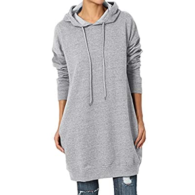 TheMogan S~3X Loose Fit Pocket Pullover OR Zip Up Hoodie Long Tunic Sweatshirts at Women's Clothing store