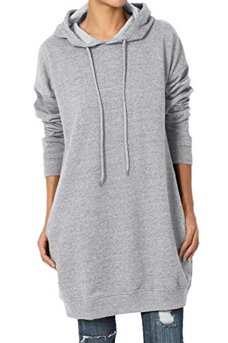 TheMogan Women's Hoodie Loose Fit Pocket Tunic Sweatshirts Heather Grey M/L