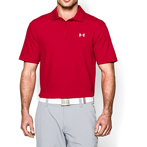 Under Armour Men's Performance Polo, Red/White, Medium