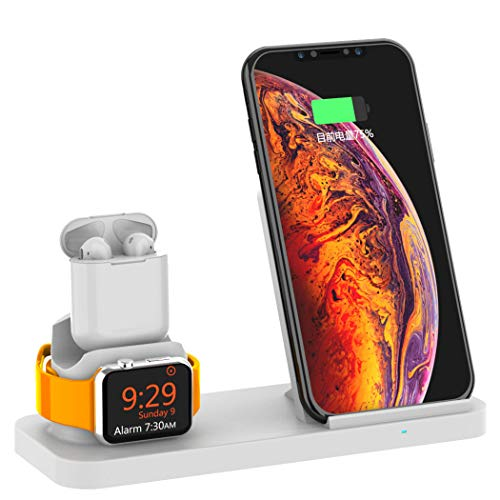 ZYNCA Mobile Phone Holder Silicone Charging Base Three-in-One Mobile Phone Watch Headset Charging Bracket for iPhone Xr, Xs, X, Iwatch,White