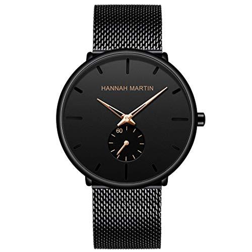 XBKPLO Watches Men'sMinimalist Black Calendar Waterproof Stainless Steel Mesh Watch ()